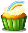 A cupcake with rainbow