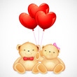 Cute Couple of Teddy Bear holding Heart Balloon