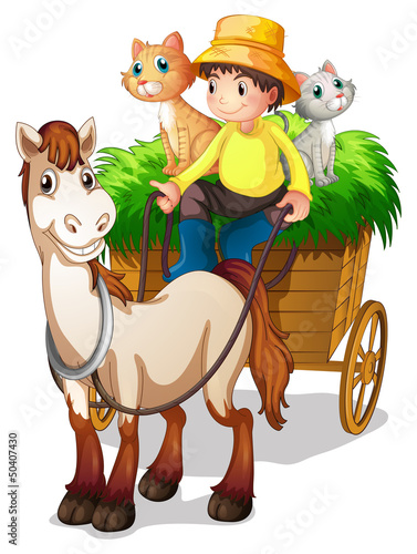 Tuinposter Katten A farmer riding in a strawcart with his farm animals