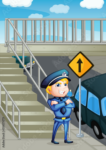 A  traffic enforcer standing beside an outpost