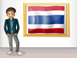 A boy with a framed flag of Thailand