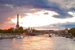 Bridge of Alexandre III and Eiffel tower,  Paris,