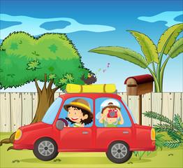 A car at the backyard