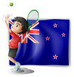 A young tennis player in front of the New Zealand flag
