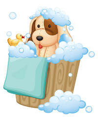 A dog inside a pail full of bubbles