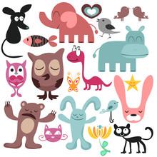 Ensemble aléatoire de divers animaux drôles