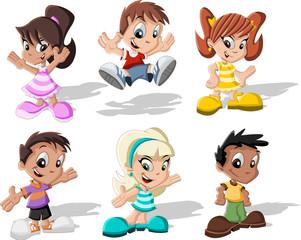 Group of six cartoon children