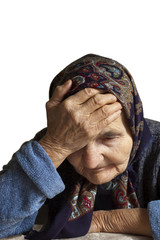 Portrait of a sad elderly woman