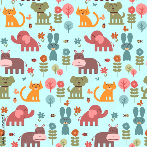 Wall mural Seamless pattern with cute animals