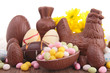 assortment of easter chocolate eggs