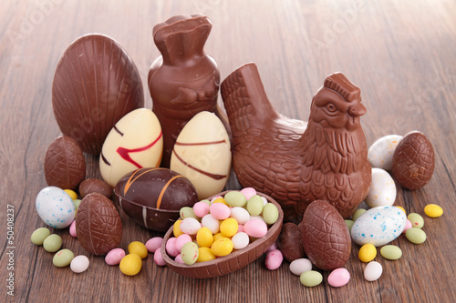 canvas print picture assortment of easter chocolate eggs