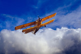 Old plane spraying pesticides over agricultural fields poster
