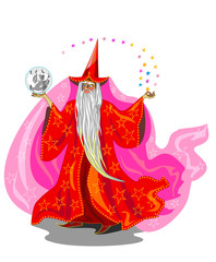 Magician in red robe