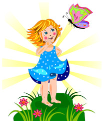 Beutiful little girl and butterfly