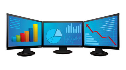 Computer monitors with financial graphs