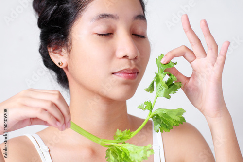Lady With Fresh Celery