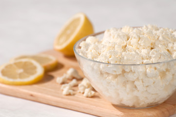cottage cheese with lemon decoration