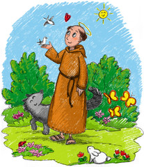 Saint Francis of Assisi in a wood with wild animals