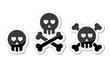 Cartoon skull with bones and hearts vector icon set