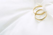 canvas print picture - Wedding rings on ring pillow with copy space