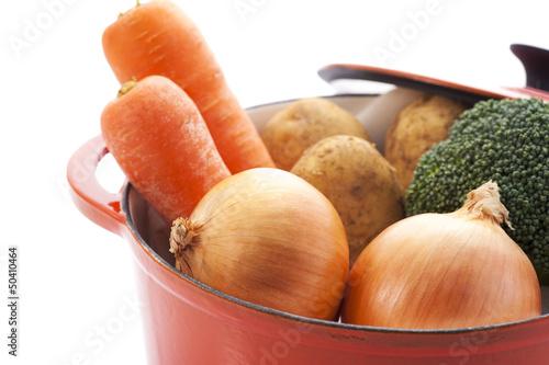鍋にはいった沢山の野菜