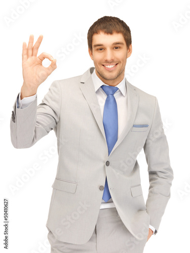 handsome man showing ok sign