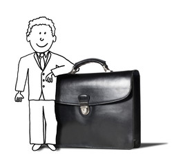 illustration of confident businessman working on project