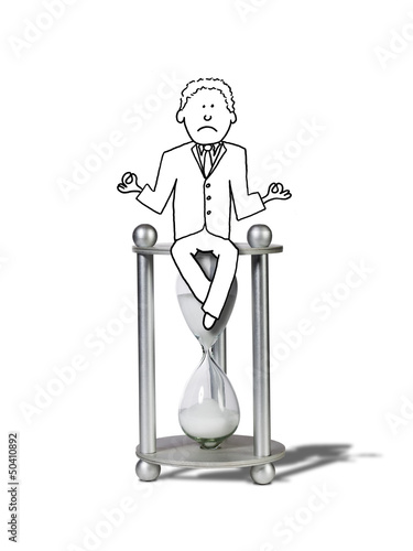 illustration of zen unhappy businessman dealing with deadlines