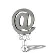illustration of stressed internet man lifting emailing symbol