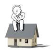 illustration of thinking businessman anxious at borrowing money