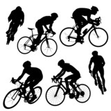 cycling poses in black and white silhouettes
