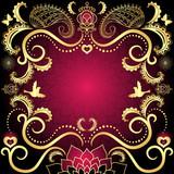 Purple-gold vintage valentine frame