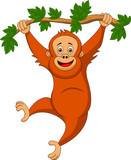 Cute orangutan cartoon hanging on a tree branch