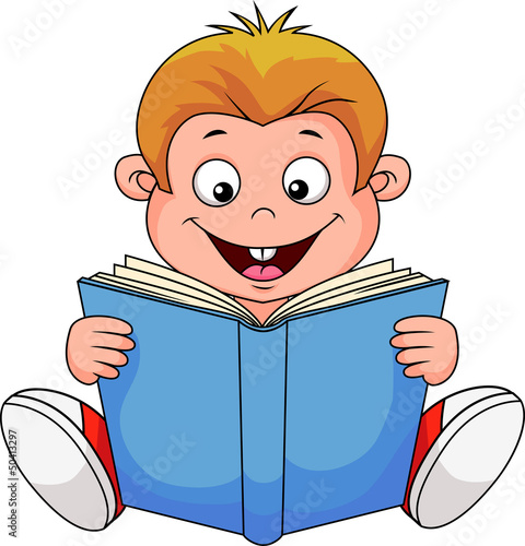 A cartoon boy reading a book
