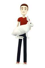 3d render of cartoon character with white hare