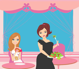 illustration of thick and thin girls in restaurant