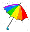 Rainbow umbrella under the rain