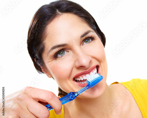 Beautiful woman with a toothbrush.