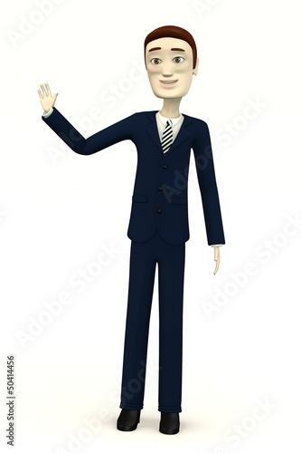 cartoon businessman - palm up