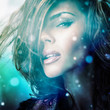 Young sensual romantic beauty woman. Multicolored photo.