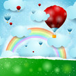 Hot air ballons on fantasy background