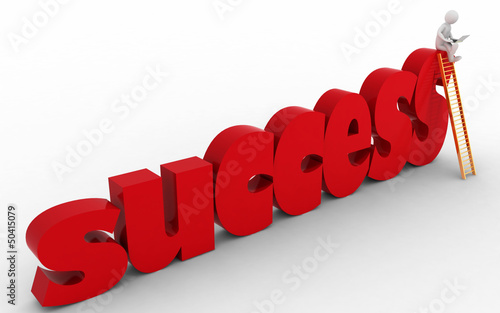 3d businessman on success stair.