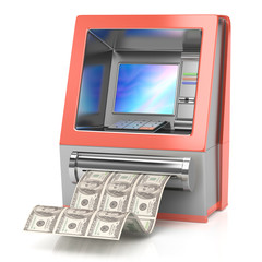 cash machine with dollars