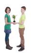 Glückliche Kinder halten  Pflanze - Children with small plant