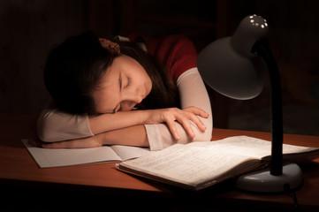 Girl asleep at a table doing homework
