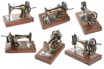 Set of sewing-machines on white background