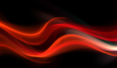 Awesome fiery waves on black background