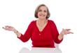 Noch Fragen - ältere Dame gibt Rat - isoliert in Rot
