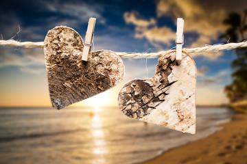 Herzen vor Hawai'i-Hintergrund