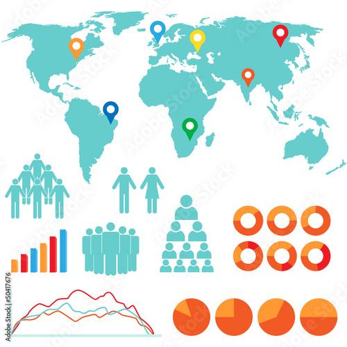 Staande foto Wereldkaart Infographics and design icons